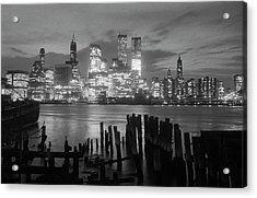 View Of Manhattan Skyline From Brooklyn Acrylic Print by Bettmann