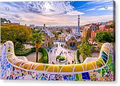 View Of The City From Park Guell In Acrylic Print by Georgios Tsichlis