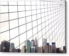 View To Nyc Through Brooklyn Bridge Acrylic Print by Thomas Northcut