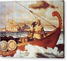 Viking Longship On The Water Acrylic Print by Hulton Archive