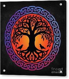 Viking Yggdrasil World Tree With Ravens Huginn Muninn Acrylic Print
