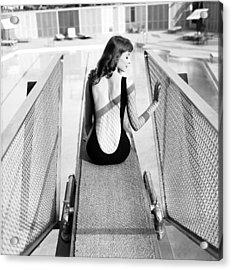 Vikki Dougan In Backless Swimwear Acrylic Print