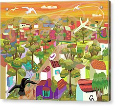 Village In Movement And Child Like Acrylic Print by Charles Harker