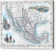Vingage Map Of Texas, California And Mexico Acrylic Print
