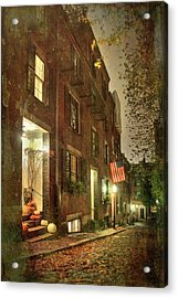 Acrylic Print featuring the photograph Vintage Boston - Acorn Street by Joann Vitali