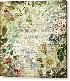 Vintage Botanical Illustration Collage Acrylic Print