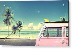 Vintage Car In The Beach With A Acrylic Print by Jakkapan