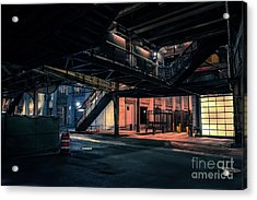 Vintage Chicago L Station At Night Acrylic Print