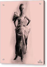 Vintage Fashion Evening Gown Acrylic Print by Beverly Brown