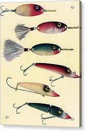 Vintage Fishing Lures Acrylic Print by Graphicaartis
