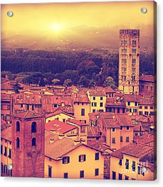 Vintage Image Of Lucca At Sunset, Old Acrylic Print
