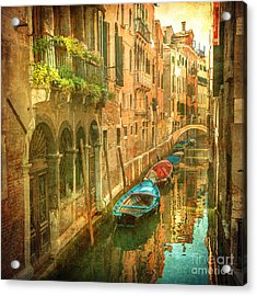 Vintage Image Of Venetian Canals Acrylic Print