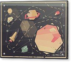 Vintage Postcard Of Spaceship In Acrylic Print