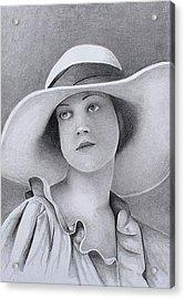 Vintage Woman In Brim Hat Acrylic Print