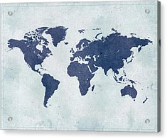 Vintage World Map Acrylic Print by Yorkfoto