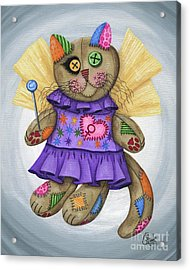 Voodoo Empress Fairy Cat Doll - Patchwork Cat Acrylic Print