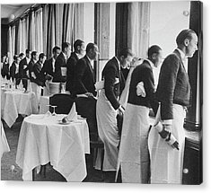 Waiters In The Grand Hotel Dining Room L Acrylic Print by Alfred Eisenstaedt