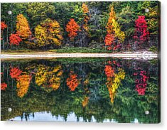Walden Pond Fall Foliage Concord Ma Reflection Acrylic Print