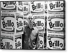 Warhol & Brillo Boxes At Stable Gallery Acrylic Print by Fred W. McDarrah