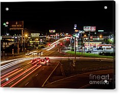 Washington Road At Night - Augusta Ga Acrylic Print