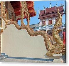 Acrylic Print featuring the photograph Wat Chai Mongkon Phra Ubosot Makara And Naga Guardian Dthlu0396 by Gerry Gantt