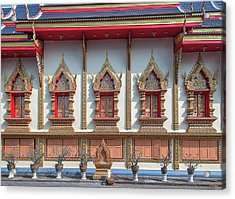 Acrylic Print featuring the photograph Wat Chai Mongkon Phra Ubosot Windows Dthlu0398 by Gerry Gantt