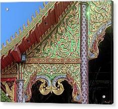 Acrylic Print featuring the photograph Wat Nong Khrop Phra Ubosot Gable Naga Dthcm2666 by Gerry Gantt