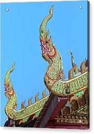 Acrylic Print featuring the photograph Wat Nong Khrop Phra Ubosot Naga Roof Finials Dthcm2665 by Gerry Gantt