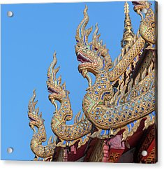 Acrylic Print featuring the photograph Wat Nong Tong Phra Wihan Naga Roof Finials Dthcm2648 by Gerry Gantt