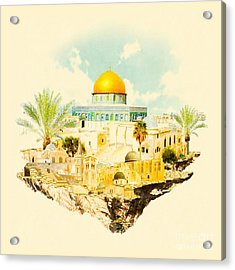 Water Color Illustration Jerusalem View Acrylic Print