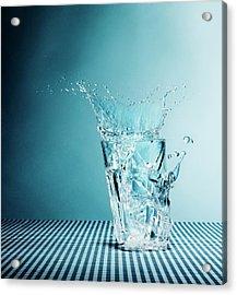 Water Splashing From Broken Glass Acrylic Print by Henrik Sorensen