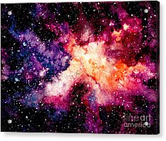 Watercolor Background With Outer Space Acrylic Print by Nebula Cordata