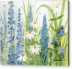 Watercolor Blue Flowers Acrylic Print