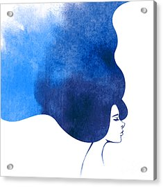 Watercolor Fashion Woman With Long Acrylic Print