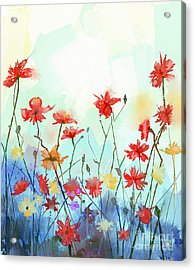 Watercolor Flowers Painting In Soft Acrylic Print