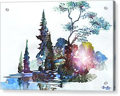 Watercolor Forest And Pond Acrylic Print