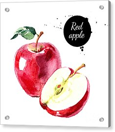Watercolor Hand Drawn Red Apple Acrylic Print by Pimlena