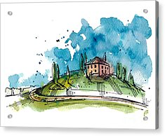 Watercolor Illustration Of A Tuscany Acrylic Print