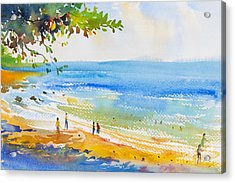 Watercolor Original  Seascape Painting Acrylic Print