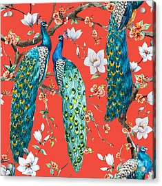 Watercolor Pattern Peacock Lover Acrylic Print