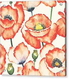 Watercolor Seamless Pattern With Acrylic Print