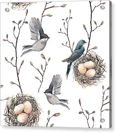 Watercolor Seamless Pattern With Nest Acrylic Print