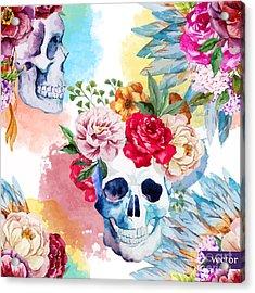 Watercolor, Skull, Flowers, Indian Acrylic Print by Anastasia Lembrik