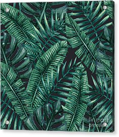 Watercolor Tropical Palm Leaves Acrylic Print