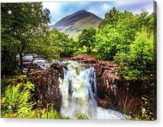 Waterfall Beneath The Ben Nevis Mountain Acrylic Print
