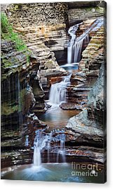 Waterfall Closeup In Woods With Rocks Acrylic Print