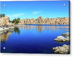 Watson Lake And Rock Formations Acrylic Print