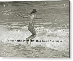 Wave Jump Quote Acrylic Print by JAMART Photography