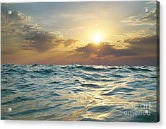 Wave On Sunset. Nature Composition Acrylic Print by Djgis