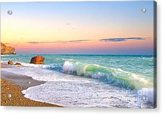 Waves And Sky During Sunset Acrylic Print